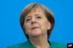 앙겔라 메르켈 독일 총리가 7일 베를린에서 기자회견을 하고 있다.