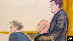 طرحی از دیوید کوریا (فرد وسط تصویر) در دادگاه