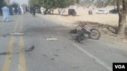 دھماکے کے بعد جائے واقعہ کا منظر