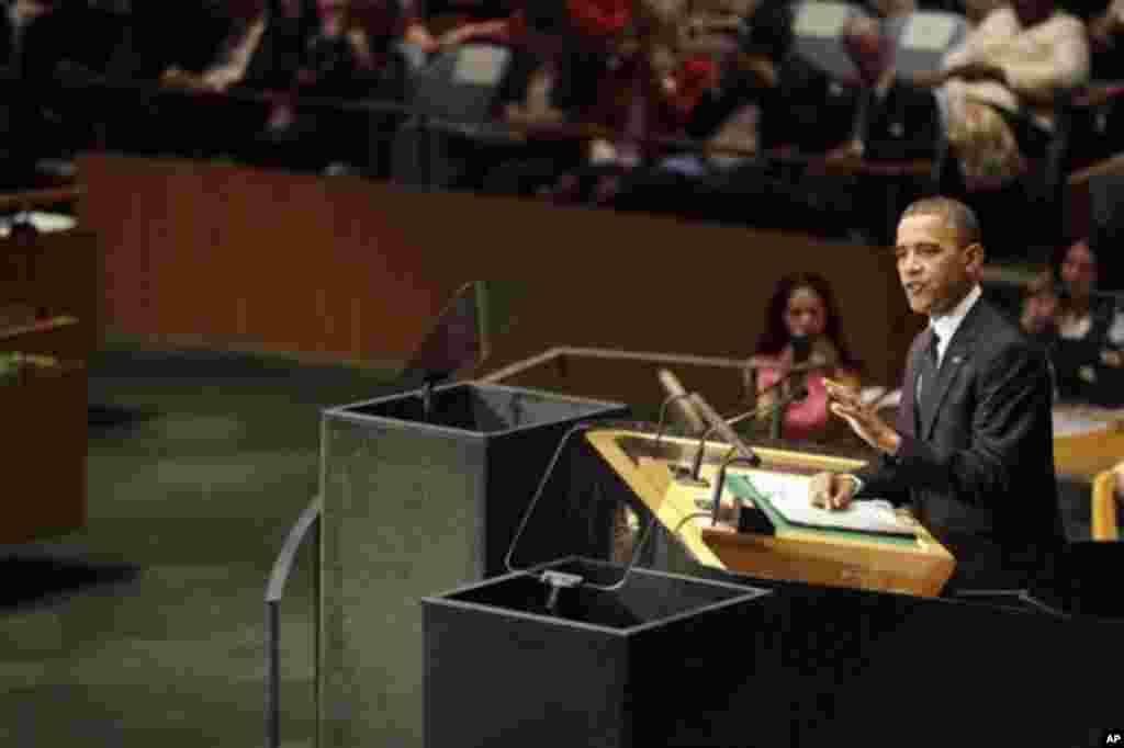 Le président américain Barack Obama s'adressant à la 67e session de l'Assemblée générale de l'ONU le 25 septembre 2012 (AP Photo/Mary Altaffer)