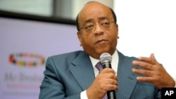 FILE - Mo Ibrahim a speaks to the media during the announcement of the recipient of The Ibrahim Prize for Achievement in African Leadership in London, October 2008.