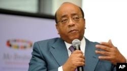 Mo Ibrahim speaks about his leadership prize in London in this file photo from 2008.