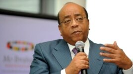 Sudanese telecom magnate Mo Ibrahim speaks to the media at an event in London in 2008.