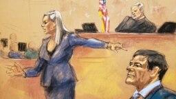 """Tư liệu - Hình ảnh kí họa cho thấy Trợ lí Công tố viên liên bang Amanda Liskamm chỉ tay về phía bị cáo Joaquin """"El Chapo"""" Guzman (phải) trong phần phản bác lập luận trong phiên tòa xét xử Guzman tại tòa án liên bang ở Brooklyn, Thành phố New York, ngày 31 tháng 1, 2019."""