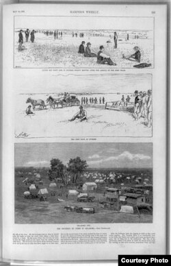 "This page from a ""Harper's Weekly"" edition in 1893 shows another portion of Oklahoma, soon after settlement. The tents in the bottom panel turned into the first structures in what is now the state's capital, Oklahoma City. (Library of Congress)"