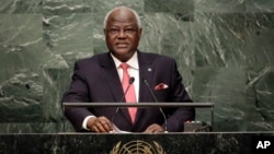Sierra Leone's President Bai Koroma addresses the 70th session of the United Nations in this Sept. 29, 2015 file photo. (AP Photo/Richard Drew)