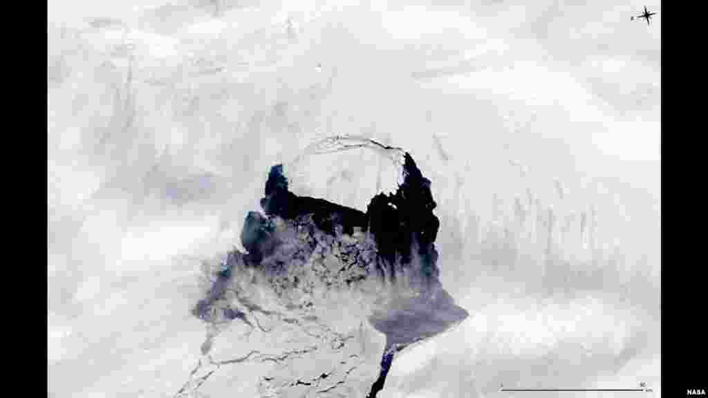 This MODIS image taken by NASA's Aqua satellite shows an iceberg that was part of the Pine Island Glacier and is now separating from the Antarctica continent. What appears to be a connection point on the top left portion of the iceberg is actually ice debris floating in the water.