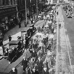 Members of the Unemployed Union march in Camden, New Jersey, in 1935