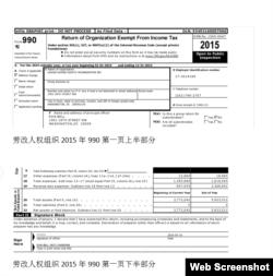 劳改人权组织2015年990 (网络截图)