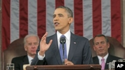 2011年1月25號奧巴馬發表國情咨文講話(資料照片)
