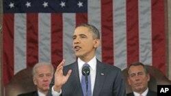 2011年1月25号奥巴马发表国情咨文讲话(资料照)