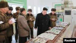 北韓領導人金正恩2月21日視察北韓的漁業。