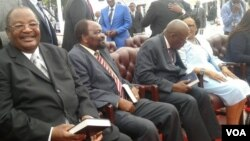 Home Affairs Minister Obert Mpofu and other ministers being sworn in by President Emmerson Mnangagwa on Monday.