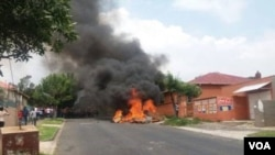 One of the houses that was set on fire in Rosettenville in Johannesburg.