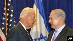 Vice President Joe Biden meets with Israeli Prime Minister Benjamin Netanyahu at the annual General Assembly of the Jewish Federations of North America in New Orleans, 07 Nov 2010