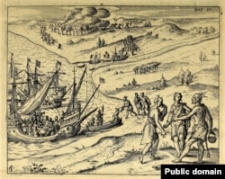 This busy 1617 engraving purports to show the British abducting Pocahontas. Courtesy, John Carter Brown Library, Brown University.
