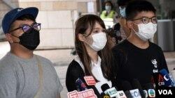 前香港众志秘书长黄之锋(右起)、前成员周庭、前主席林朗彦。 (美国之音/汤惠芸)