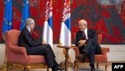Predsednik Srbije Boris Tadić i predsednik Evropskog saveta Herman van Rompej razgovaraju za vreme današnjeg susreta u Beogradu.
