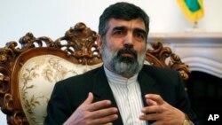 FILE - Behrouz Kamalvandi speaks during a press conference.