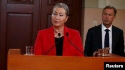 La presidenta del Comité del Premio Nobel de la Paz, Kaci Kullman Five, anuncia el ganador del premio 2015 en Suecia.