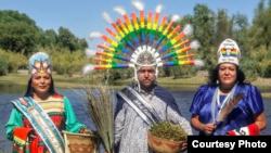 "L to R: Vicki Quintero (White Mountain Apache), Timothy ""Twix"" Ward, San Carlos Apache, and Vanessa Kristina (Salt River Pima), who all identify as two-spirited. Courtesy: powwows.com"