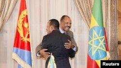 Abiy Ahmed et Isaias Afworki, Asmara, Erythrée, le 9 juillet 2018 (Ghideon Musa Aron Visafric/via Reuters)