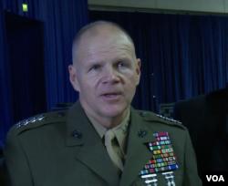 美國海軍陸戰隊司令奈勒上將 (美國之音黎堡拍攝)