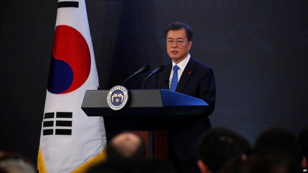 Tổng thống Hàn Quốc Moon Jae-in phát biểu từ Nhà Xanh ở Seoul trong cuộc họp đầu năm 2018.
