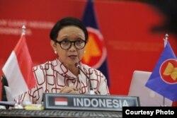 Menlu RI Retno Marsudi pada pertemuan khusus Menlu ASEAN-Australia yang dilakukan secara virtual Selasa (30/6). (foto: Kemlu RI)