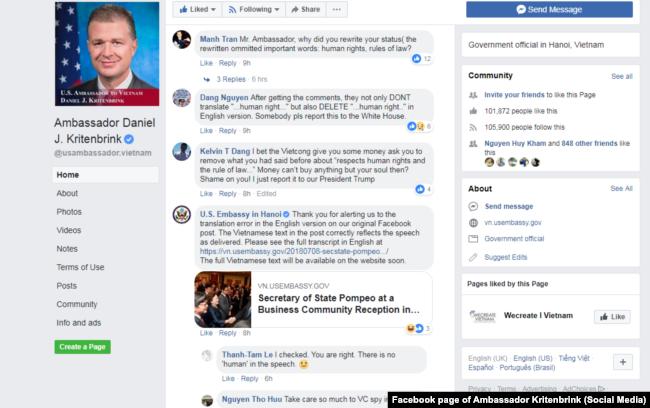 """Đại sứ quán Mỹ trả lời về """"lỗi dịch thuật"""" liên quan đến một bài trên Facebook của Đại sứ Kritenbrink, 9/7"""