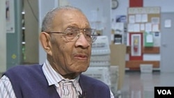 Mazerine Wingate, 100 years old, has sharp eyesight, drives a car, still goes to work six days a week at a post office in the eastern state of Maryland, and advises it's important to keep moving, February 2011