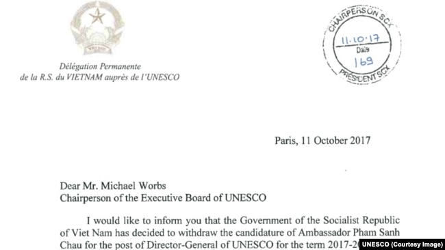 Bức thư phái đoàn thường trực của Việt Nam tại UNESCO ký tên đại sứ Trần Thị Hoàng Mai thông báo cho chủ tịch Ban chấp hành UNESCO về quyết định rút ông Phạm Sanh Châu khỏi cuộc đua tới chức Tổng giám đốc của tổ chức này.