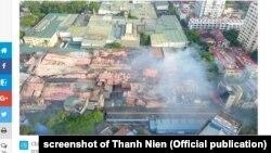 Khu nhà kho Công ty Bóng đèn Phích nước Rạng Đông bị phá hủy do vụ cháy hôm 28/8/2019