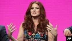 "Debra Messing participates in the ""Will & Grace"" panel during the NBC Television Critics Association Summer Press Tour at the Beverly Hilton, on Aug. 3, 2017, in Beverly Hills, Calif."