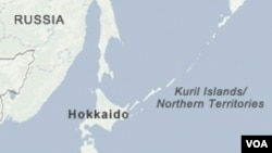 Peta kepulauan Kuril yang disengketakan.