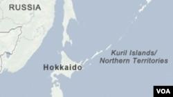 Peta wilayah kepulauan Kuril yang menjadi sengketa antara Rusia dan Jepang.