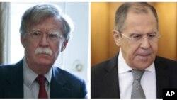 سرگئی لاوروف وزیر خارجه روسیه (راست) و جان بولتون مشاور امنیت ملی رئیس جمهوری ایالات متحده