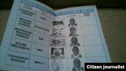 Marked Zimbabwe ballot showing candidates in the July 31 general election (Courtesy Image)