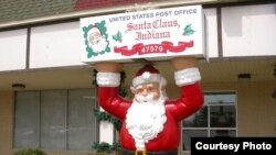 The post office in Santa Claus, Indiana, where Christmas carols are heard 12 months a year at the town hall. (santaclausind.org)