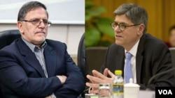 جک لو وزیر خزانه داری آمریکا و ولی الله سیف رئیس بانک مرکزی ایران.