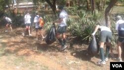 Lomagundi College students picking up litter along one of Zimbabwe's highways (Photo/Arthur Chigoriwa)