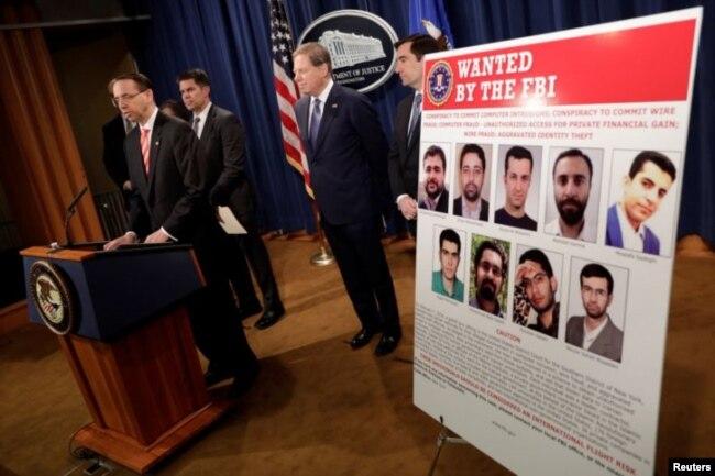 آمریکا ۱۰ فرد و یک نهاد را در ایران به اتهام حملات سایبری تحریم کرد. راد روزنستاین قائممقام دادستان کل ایالات متحده آمریکا در نشست خبری درباره تحریم جدید این افراد توضیح می دهد.