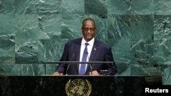 Icegera ca mbere c'umukuru w'igihugu wa Sudani y'Epfo, Taban Deng Gai ashikiriza ijambo mu nama ya bose ya ONU igira 72 ku cicaro ca ONU.