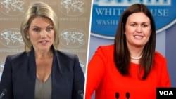 Hem ABD Dışişleri Bakanlığı sözcüsü Heather Nauert (solda) hem de Beyaz Saray sözcüsü Sarah Sanders, İran'da rejim karşıtı gösterilere destek veren açıklamalar yaptı