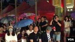 前天安门学生运动领导人王丹2017年6日4日在台北六四28周年纪念会上(美国之音记者申华 拍摄)