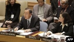 """Tổng thư ký Ban Ki-moon nói rằng nghị quyết của Hội đồng Bảo an hôm thứ Bảy """"đã đánh đi một thông điệp mạnh mẽ rằng những hành động vi phạm nhân quyền trắng trợn sẽ không được dung thứ"""""""