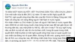 Một đoạn trong bài viết trên trang FB của ông Nguyễn Đình Bin.