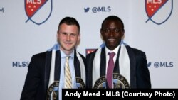 Keegan Rosenberry and Joshua Yaro pose after they were selected in the 2016 Major League Soccer SuperDraft. The two played together at Georgetown University and will play for the Philadelphia Union.