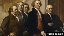 五人小組(The Committee of Five)於1776年6月向大陸議會提交獨立宣言初稿(約翰·特朗布爾1819年的畫作)