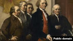 Na slici Džona Trambula iz 1819. Komitet petorice (Džon Adams, Tomas Džeferson, Bendžamin Frenklin, Rodžer Šerman, Robert Livingston) predstavlja prvi nacrt Deklaracije nezavisnosti u junu 1776, from John Trumbull's 1819 painting.